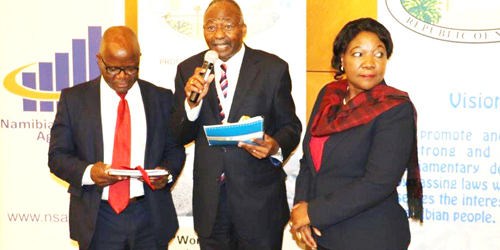 """The Speaker of the Namibia National Assembly Professor Peter H. Katjavivi on Monday launched the report entitled: """"A Namibia fit for children – 25 years of progress."""" © New Era"""