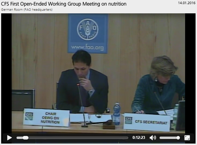 Webcast: CFS First Open-Ended Working Group Meeting on nutrition