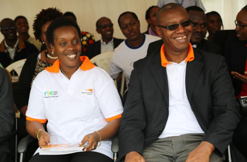 Dr.Diane Gashumba,the minister of gender and Family promotion (L) and the State Minister in charge of Public Health and Primary Health Care, Dr Patrick Ndimubanzi.