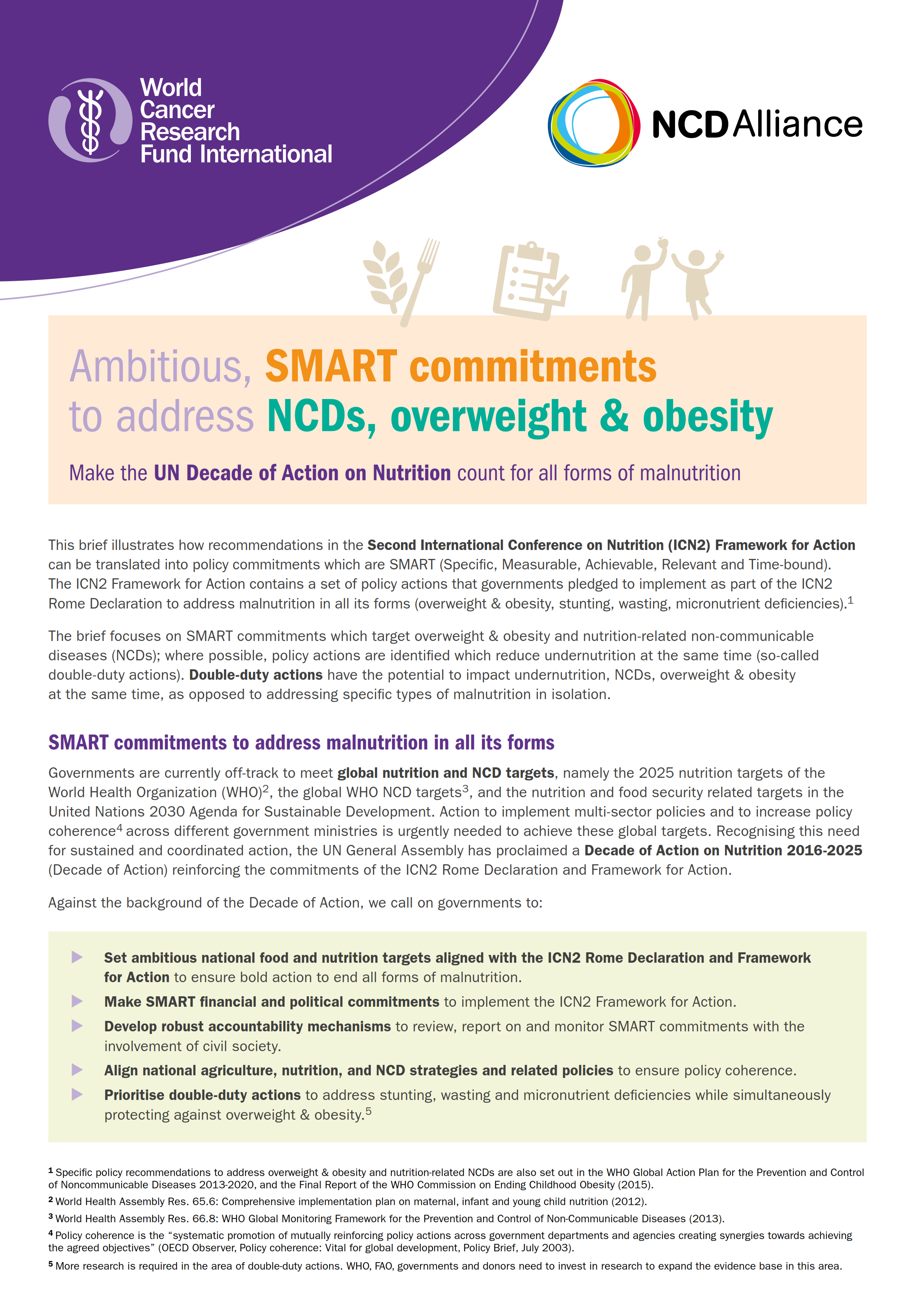 Guidance on developing SMART commitments to address NCDs, overweight