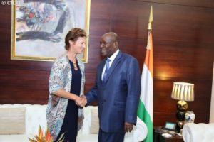 Prime Minister of Côte d'Ivoire, Daniel Kablan Duncan and SUN Movement Coordinator, Gerda Verburg.