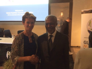 SUN Movement Coordinator, Gerda Verburg with former UN Secretary General, Kofi Annan